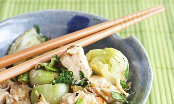 grilled chicken and baby bok choy salad