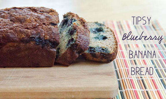 tipsy blueberry banana bread
