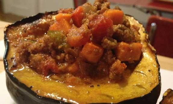 chili in acorn squash
