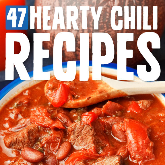 47 Hearty Chili Recipes- great list of unique & tasty chili recipes.