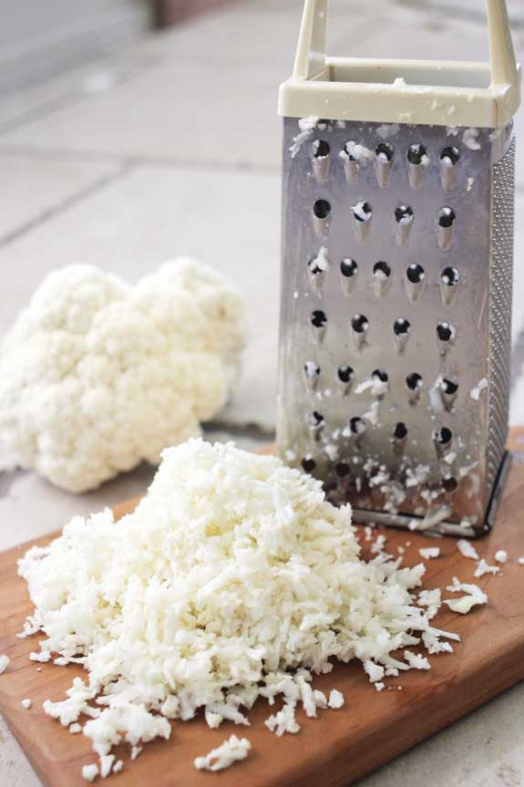grating the cauliflower