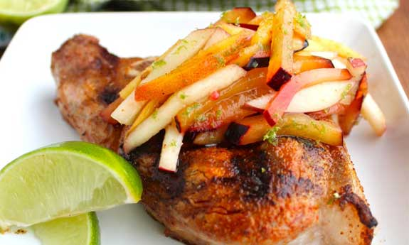 paleo pork chops with stone fruit slaw