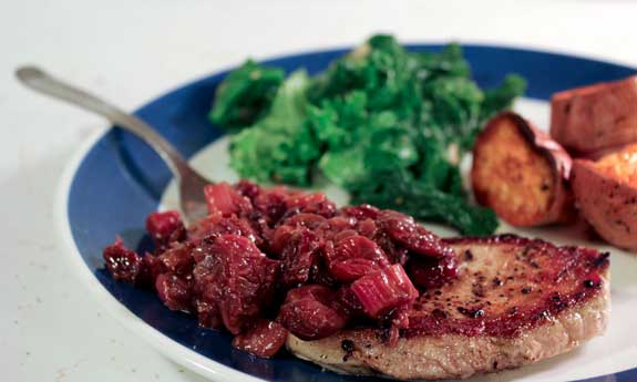pork chops with rhubarb chutney