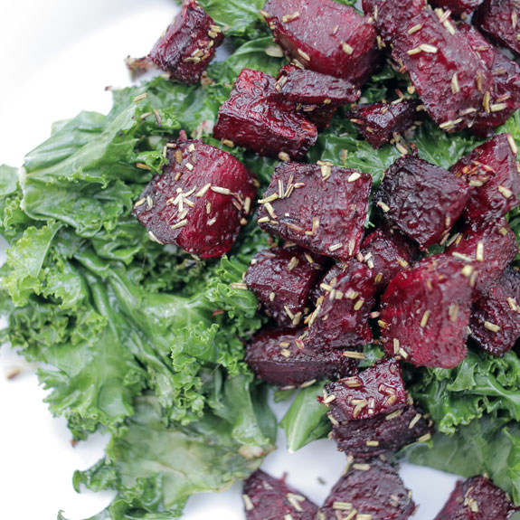 Rosemary Beets with Garlicky Kale- makes a great lunch or side.