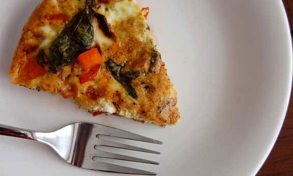 kale and red pepper fritatta