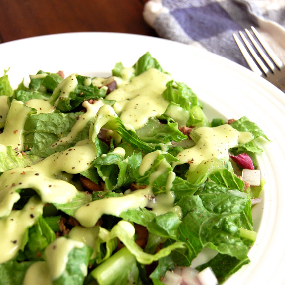 Taco Salad with Creamy Avocado Dressing- yum!