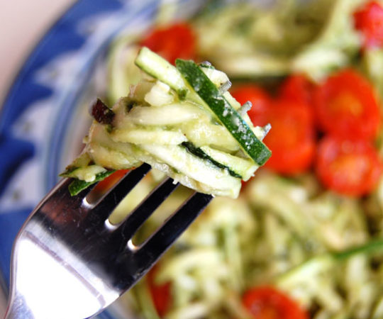 """Easy """"Pasta"""" with Zucchini Noodles- this super healthy """"pasta"""" recipe is one of my family's favorites. They can't get enough of it!"""