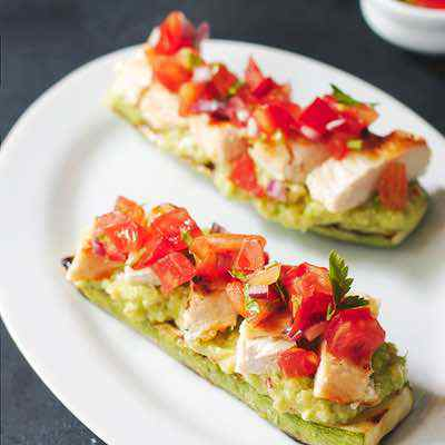 Grilled Chicken Bruschetta on Zucchini Toast