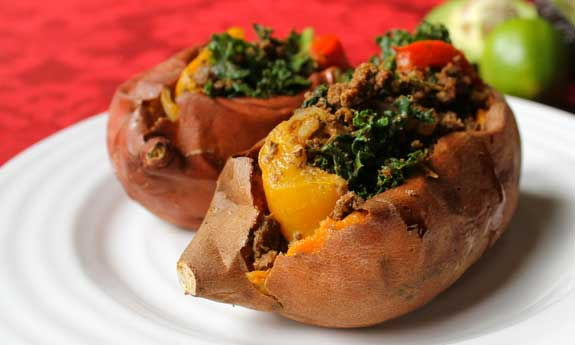 sweet potatoes with ground beefandkale