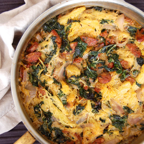 "Sausage and Kale ""Pasta"" Casserole- this is a great low carb meal that uses spaghetti squash instead of pasta."