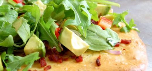 Bacon, Avocado, and Arugula Flatbread- try this! So good.
