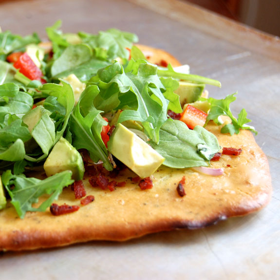 Bacon, Avocado, and Arugula Flatbread- try this! So good.