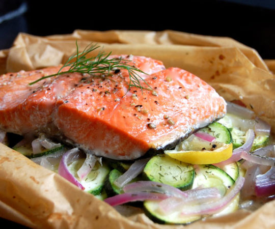 Dill and Lemon Baked Salmon in Parchment- this is way easier than it looks and one of my favorite ways to make healthy baked salmon.