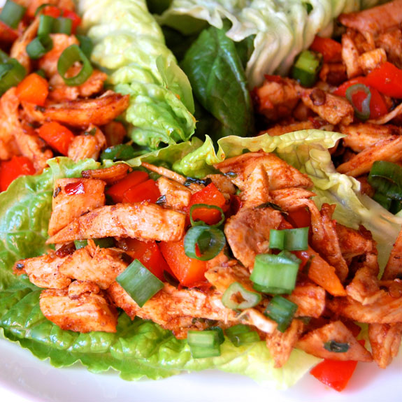 Low Carb Chipotle Chicken Lettuce Wraps- this is such an awesome & super healthy lunch to make. It's spicy, delicious, and you can make it ahead of time.