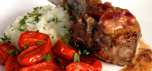 Lamb Chops with Mustard Sauce and Roasted Tomatoes- this dish has such bold flavors and is so delicious! If you like lamb you will love it.