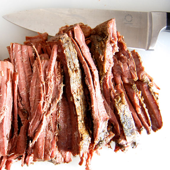 Melt In Your Mouth Slow Cooker Beef Brisket- this is the easiest way to cook beef brisket and results are a tender, juicy, melt in your mouth brisket!
