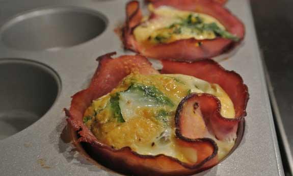 cheesy eggs in ham
