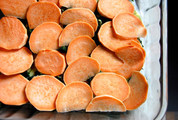 Layering the Sweet Potatoes