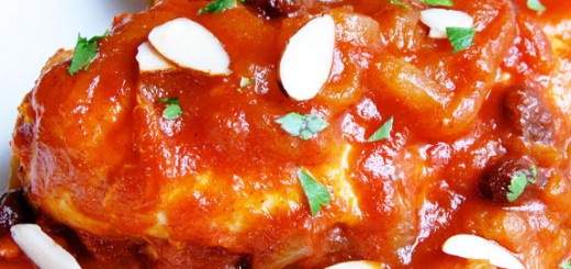 Sweet and Savory Moroccan Chicken- a bit of honey and subtle spices are simmered with a tomato-based sauce to create juicy, tender chicken. I can't get enough of this!