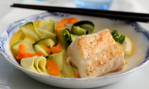 Ginger Cod with Zucchini Ribbon Salad