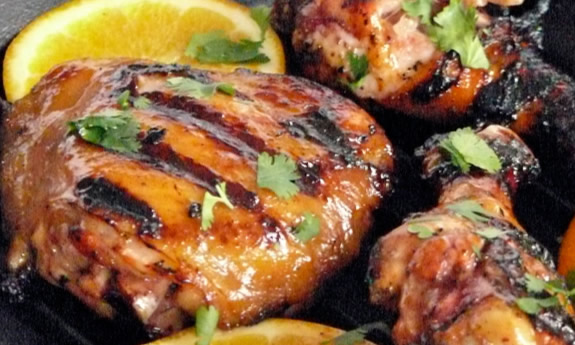 Grilled Chicken with Habanero and Orange Glaze