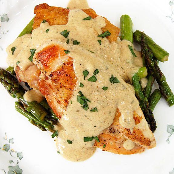 Pan-Fried Chicken with Mustard Cream Sauce and Asparagus- holy moly ...