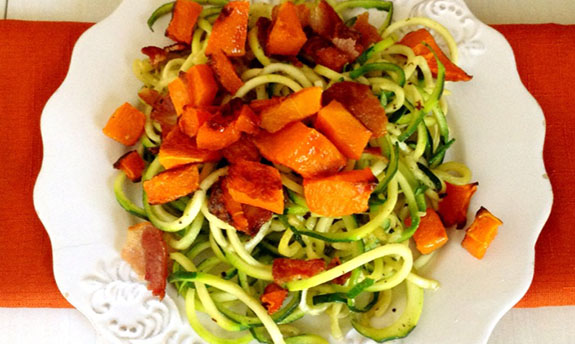 Bacon and Butternut Squash Zucchini Spaghetti