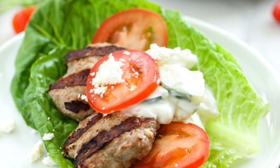 Feta Gyro Burgers with Tzatziki Sauce