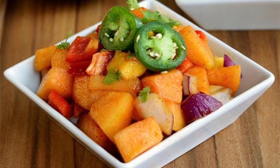 Fire-Kissed Cantaloupe and Mango Salad
