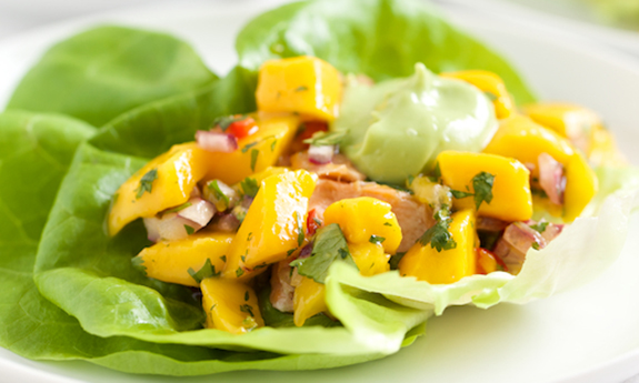 Fish Taco Lettuce Wraps with Mango Salsa