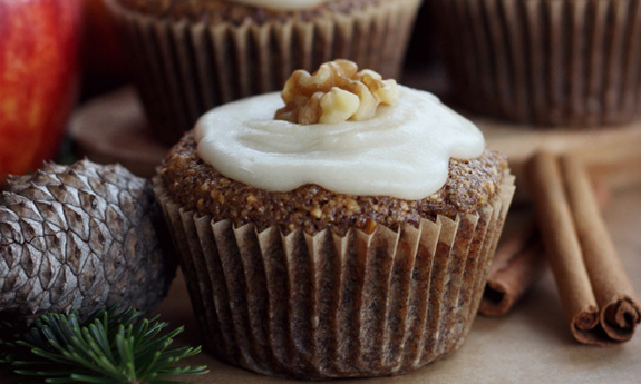 Grain Free Apple Walnut Muffins with Maple Butter Frosting