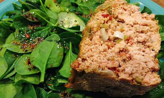 Green Chile Turkey Meatloaf with Green Chile Sauce