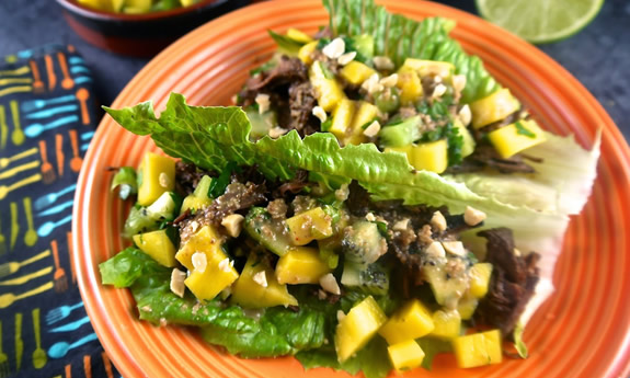 Paleo Curried Thai Beef Lettuce Wraps