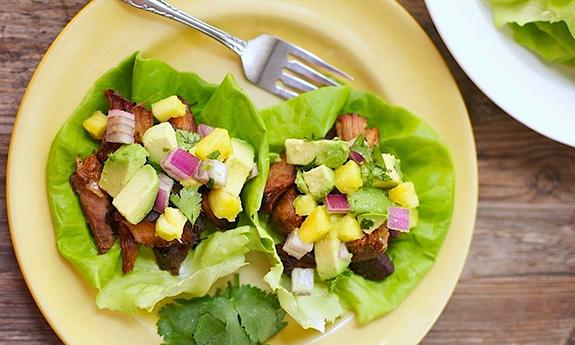 Slow-Cooker Carnitas Lettuce Wraps with Pineapple & Avocado Salsa