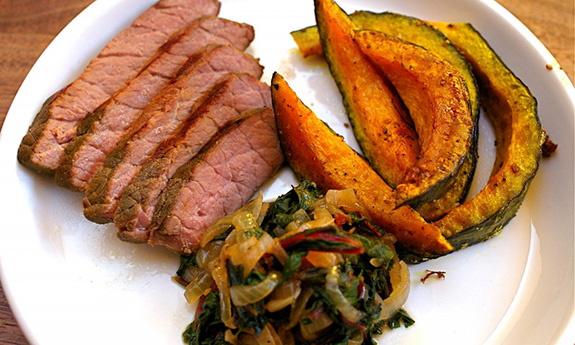 Soy-Vay Steak with Roasted Beets and Kabocha Squash