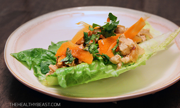 Turkey Lettuce Wraps With Spicy Mustard Sauce