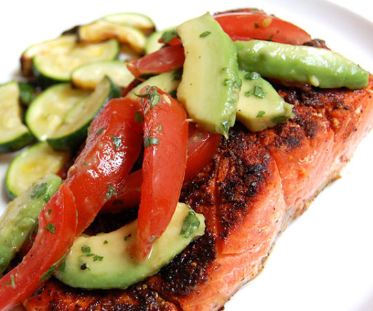Blackened Salmon with Summer Tomato Salsa- I'm so addicted to this dish!