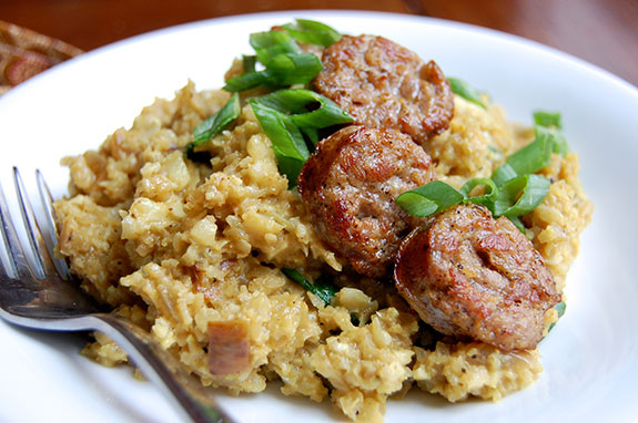 coconut rice with sausage