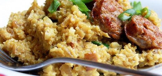 Curried Coconut Cauliflower Rice with Sausage- this is such a heartwarming dish. My friends and family love it!