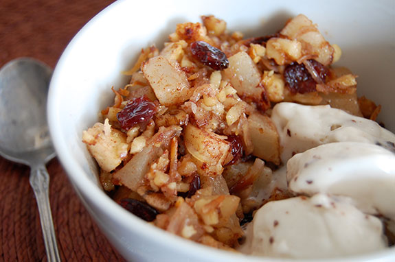 cranberry crisp and ice cream