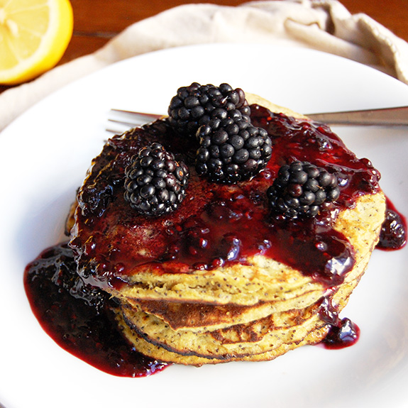 Lemon Poppy Seed Paleo Pancakes- one of my favorite Paleo breakfasts! So tasty.