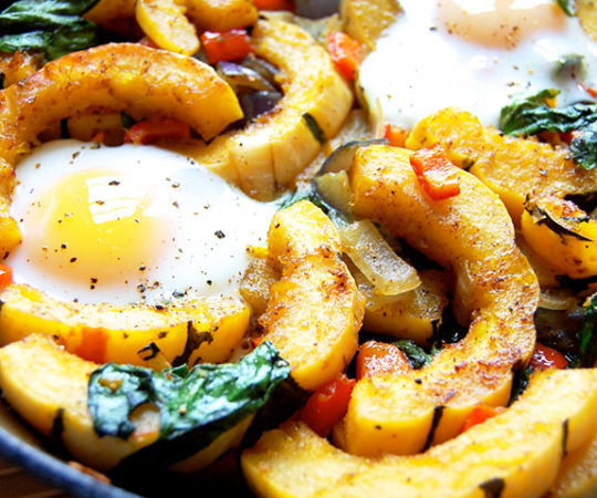 Delicata Squash and Red Pepper Skillet- one of my favorite hearty, wholesome Paleo breakfasts.