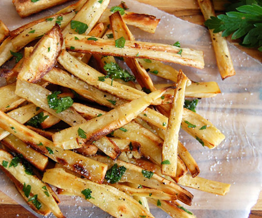 Addictive Parsnip Fries with Truffle Oil- the best homemade fries I have ever had and so much healthier!