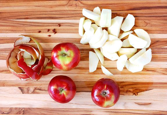 cut up apples