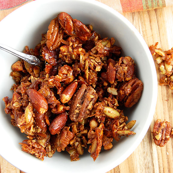 Homemade Gingerbread Paleo Granola- my favorite granola of all-time! Great for breakfast or a healthy snack.