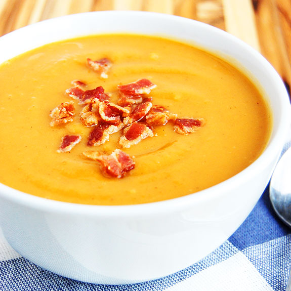 Sweet Potato and Bacon Paleo Soup- all the taste of a baked potato in ...
