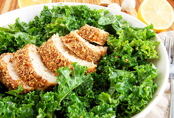 kale ceaser salad with almondcrustedchicken