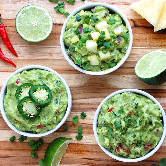 Paleo Guacamole 3 Ways (Classic, Sweet & Spicy)- These are my all-time favorite guacamole recipes!