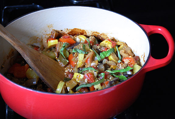 cooking the ratatouille