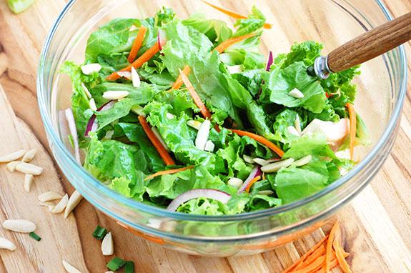 mixing the asian salad